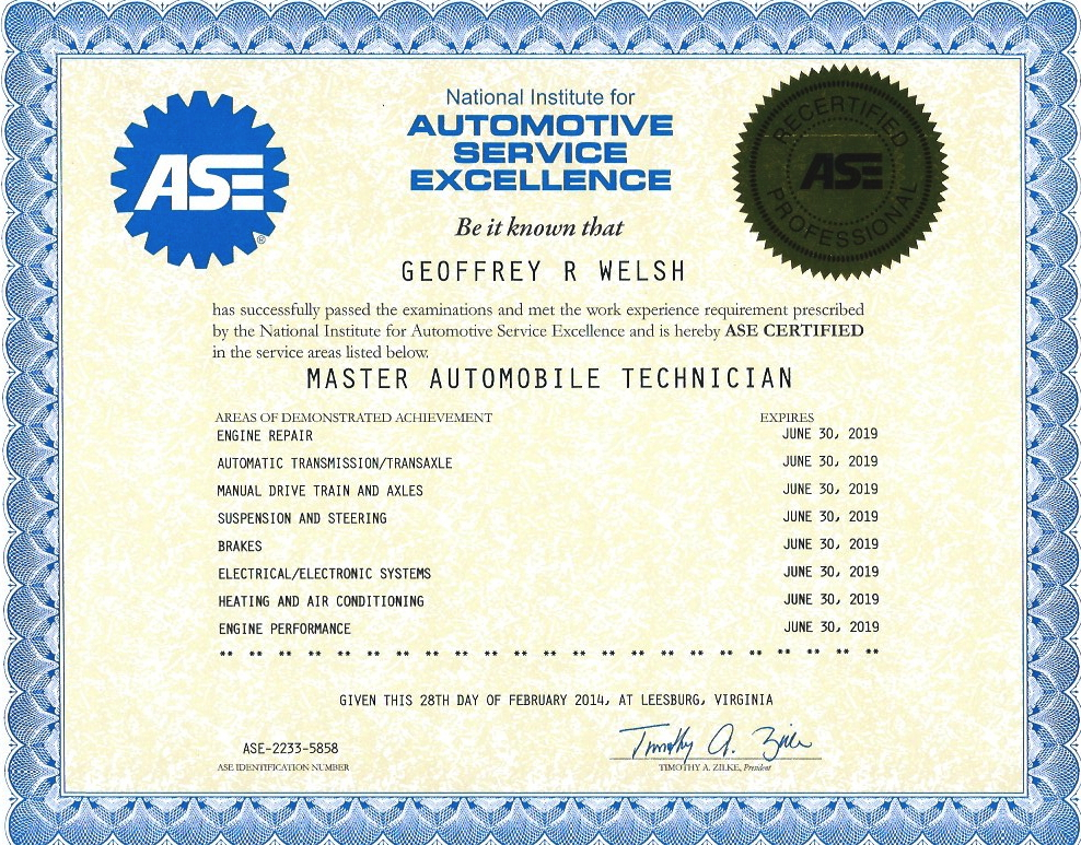Ase Certificates For Geoff Welsh